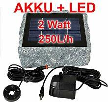 SOLAR TEICHPUMPE GARTENBRUNNEN mit AKKU und LED