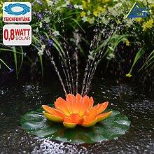 SOLAR TEICHPUMPEN SET WASSERSPIEL SOLAR SPRINGBRUNNEN mit Fernbedienung, Li-Ion-Akku, LED-Beleuchtung (Lotus-Blume Orange)