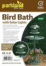 Solar-Vogelbad mit Häuschen, Kupfer-Effekt, Grün