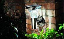 Solar Wandleuchte Edelstahl schwarz Außen Leuchte mit Bewegungsmelder 2 LEDs Garten Solar Lampe Außenbeleuchtung mit Bewegungsmelder und LEDs