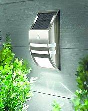 Solar Wandleuchte Hoflampe aus Edelstahl mit Lichtensor und Bewegungsmelder - sehr hochwertig verarbeitete Außenbeleuchtung Solar LED - perfekt als Sicherheitsbeleuchtung oder als Haustür Leuchte geeignet - aus Glas und Edelstahl , erhältlich in edelstahl matt gebürstet oder schwarz glänzend (schwarz glänzend)