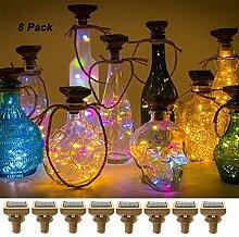 Solar Weinflasche Kork Lichter 20 Mini LED Silber