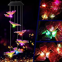 Solar-Windspiel mit Schmetterling, Farbwechsel,