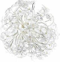 solarbuy24 Kupfer Solar lichterkette mit 120 Blumen weiss für Weihnachten,Hochzeit,Garten,Party,