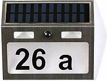 Solarhausnummer, Edelstahl Hausnummernschild mit 7