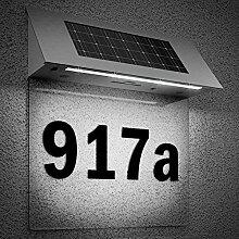 Solarhausnummer Edelstahl mit 4 starken LEDs