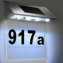 Solarhausnummer Edelstahl mit 4 starken LEDs -