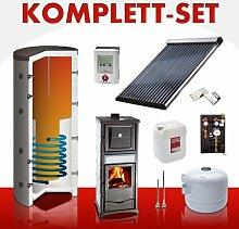Solarkomplettset 10 m² + Komplettset Kaminofen Termorossella Forno S...