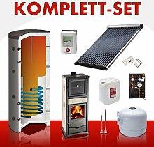 Solarkomplettset 10 m² + Komplettset Kaminofen