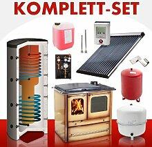 Solarkomplettset 10 m² + Küchenofenkomplettset Termosovrana Marrone