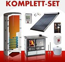 Solarkomplettset 10 m²+Küchenofenkomplettset Termorosa Speckstein
