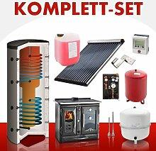 Solarkomplettset 14 m² + Küchenofenkomplettset Termosuprema Anthrazi