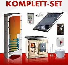 Solarkomplettset 14 m² + Küchenofenkomplettset Termosuprema Creme