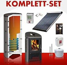 Solarkomplettset 8 m² + Komplettset Kaminofen R2D2