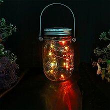 Solarlampe LED, Solar glas Licht Bunte Glas Hängeleuchte mit Wasserdicht Mason Deckel Solar Laterne, Draussen Dekorativ Solarleuchten für Hinterhof Terrasse Pfad Baum Garten Hochzeit Party von ERUW