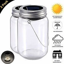 Solarlampen Glas, 2-Pack Glasleuchte Warmweiss