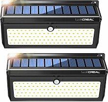 Solarleuchte Außen mit Bewegungsmelder,100LED Superhelle Solarlampen für Außen mit Weitwinkel und Kabellos Wasserfest Solar Aussenleuchte(2 Pack)-LUSCREAL