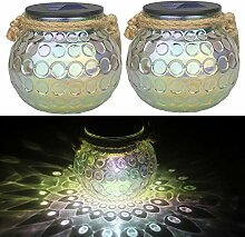 Solarleuchte Glas, Jorft 2 Stück LED Ball Lichter