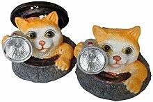 Solarleuchte Katze 2er Set Katzenleuchte