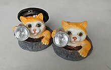 Solarleuchte Katze 2er Set Katzenleuchte Gartenlicht Katze Gartendeko