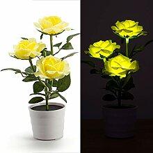 Solarleuchte Rosen Blumentopf LED Tischlampe Deko