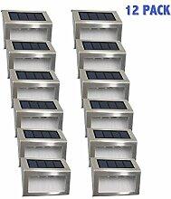 Solarleuchten Garten solar 3 Led Easternstar, Treppenleuchten Aussenleuchte Wandleuchten Wegeleuchten mit lichtssensor, wasserdicht für Garten Zaun Dachrinnen Balkon Terrasse