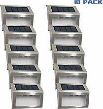 Solarleuchten Garten solar 3 Led Easternstar, Treppenleuchten Aussenleuchte Wandleuchten Wegeleuchten mit lichtssensor, wasserdicht für Garten Zaun Dachrinnen Balkon Terrasse (10er Set)