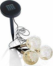 Solarleuchten-Set LED 3 Glaskugeln zum Stecken Mosaik-Design Dämmerungsautomatik