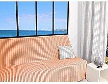 Soleil d 'Ocre leinenfarben Sofa-Überwurf Polyester Baumwolle orange koralle 170x 250cm