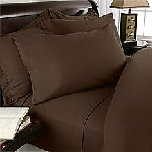 Solid Chocolate 800-Thread-Count 100%Egyptian Cotton 4-Piece King Size Sheet Set 24'' Deep Pocket by SRP Linen