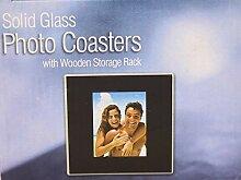 Solid Glas Foto Untersetzer mit Holz Storage Rack