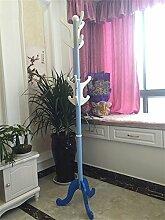 Solide Holzmantel Rack, Boden Kleiderbügel Einfache hängende Europäische Hut Rack (173cm) ( Farbe : Blau )