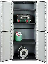 Solider Kunststoffschrank mit drei höhenverstellbaren Einlegeböden. Maße: 67 x 37,5 x 163,5 cm. In zeitlosem Design, Grau.