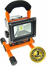 Solight A+, Akku-LED-Leuchte 10W, 700lm, Lichttemperatur 6000K, Portabel, Li-Ion-Akku, Orange-schwarz, Aluminium, 10 watts, Black/Orange, 12.5 x 14.5 x 25.5 cm