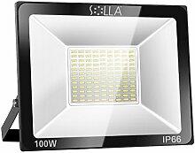 SOLLA 100W LED Flutlicht Fluter 230V Außenleuchte, 8000 Lumen, Kaltweiß, 6000 K, IP66 Wasserfest, LED Scheinwerfer Außenleuchten