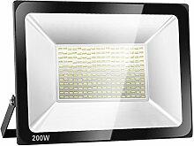 SOLLA 200W LED Flutlicht Fluter 230V Außenleuchte, 16000 Lumen, Kaltweiß, 6000 K, IP66 Wasserfest, LED Scheinwerfer Außenleuchten