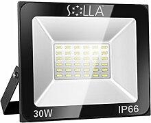 SOLLA 30W LED Flutlicht Fluter 230V Außenleuchte, 2400 Lumen, Kaltweiß, 6000 K, IP66 Wasserfest, LED Scheinwerfer Außenleuchten