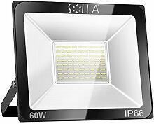 SOLLA 60W LED Flutlicht Fluter 230V Außenleuchte, 4800 Lumen, Kaltweiß, 6000 K, IP66 Wasserfest, LED Scheinwerfer Außenleuchten
