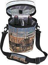 Soloatman Scheunenholz Wagenrad für 2 Flaschen