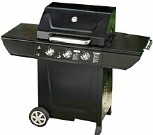 Somagic 345107Harlem Barbecuegrill mit Gasdruckfeder + PLANCHA 3Brennern 10,5kW