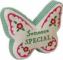 Someone Special Türstopper, bestickt mit Schmetterlings-Motiv, Grün