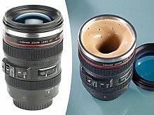 Somikon Selbstrührende Tasse: Kameraobjektiv-Thermobecher mit batteriebetriebenem Rührwerk, 220 ml (Becher mit Rührwerk)