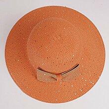 Sommer cap Kinder Visor cool cap Sonnenschutz Hüte großer Sandstrand Gap eine große Outdoor Freizeitaktivitäten Strohhut zu Falten, M (56-57,5cm) Orange