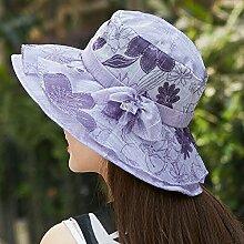 Sommer mode Frühling Herbst Sonnenschirm Mütze groß entlang Sonnenschutz außen Sonnenschutz, M (55-58 cm), Viole
