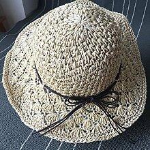 Sommer Sonne Hüte von Hand gewebt Strohhut faltbar Freizeitaktivitäten Stroh Sonnenschutz Urlaub am Meer Strand, M (56-58 cm Weibliche Gap) Beige