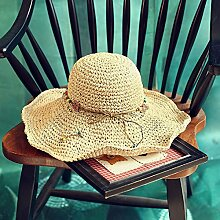 Sommer Strohhut Frauen entlang der Sandstrand in den Kühler Cap faltbarer Sonnenschutz hüte Stetson handgewebte Mützen, 54-57 cm, bläuliches Licht/Farbe