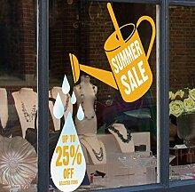 Sommer Verkauf Gießkanne Verkauf Discount Shop Fenster selbst Aufkleber–Seasonal Fenster Aufkleber, für Weihnachten, Gelb, Large Up to 25% Off