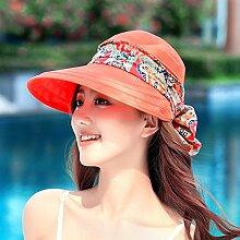 Sommer Visor weiblichen Sonnenschutz gap Radfahren Outdoor folding beach H¨¹te weibliche Sommer gro?en schwarzen Gesicht Sommer entlang der Hut sind Code (-ZIP) Orange