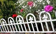 Sommeraktion Zaun Rasenkanten Beeteinfassung Palisade Beetumrandung Garten Rasen Zierzaun Gartenzaun Set zu 2,40 m Offwhite