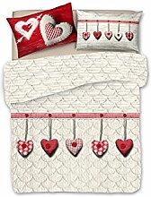 Sommerdecke aus Baumwolle, für Einzelbett, Typ Herz Farbe ro